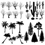 Vector Big Set of Trees and Plants Silhouettes. Royalty Free Stock Images