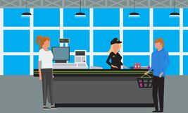 Vector Big Supermarket or Mall Interior. Scene inside of shopping mall people standing at cashier. Big Supermarket or Mall Interior. Scene inside of shopping Royalty Free Stock Photo