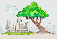 Vector big tree and outline of city,doodle tree and green city stock illustration