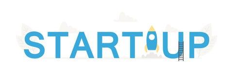 Vector big word Startup and business banner for design concept. Illustration for presentations on white background vector illustration