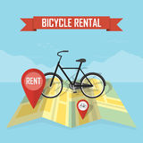 Vector bike rental map background Stock Photography