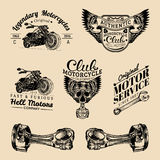 Vector biker club signs. Motorcycle repair logos set. Retro hand sketched garage labels. Custom chopper store emblems. Stock Photo
