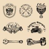 Vector biker club signs. Motorcycle repair logos set. Retro hand sketched garage labels. Custom chopper store emblems. Royalty Free Stock Image