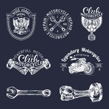 Vector biker club signs. Motorcycle repair logos set. Retro hand sketched garage labels. Custom chopper store emblems. Royalty Free Stock Images