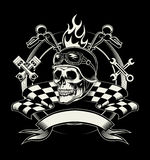 Vector biker emblem with skull or dead motorcycle Royalty Free Stock Photo