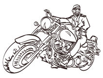 Vector Biker on the freedom trip. An hand drawn vector illustration in the comic and graffiti style. Isolated eps 10 Royalty Free Stock Photography