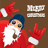 Vector biker santa claus with smoking pipe. Stock Image