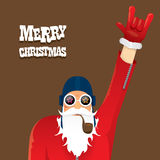 Vector biker santa claus with smoking pipe. Royalty Free Stock Photos