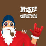 Vector biker santa claus with smoking pipe. Stock Photo