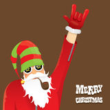 Vector biker santa claus with smoking pipe. Stock Images