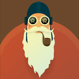 Vector biker santa claus with smoking pipe. Stock Photos