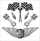 Vector biker set Hand drawn elements Repair Garage Motorcycle Biker Rider Freedom Royalty Free Stock Photography