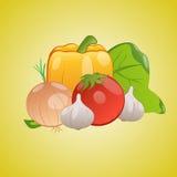 Vector Bild des Gemüses zusammen auf einem gelben Hintergrund Lizenzfreie Stockfotos