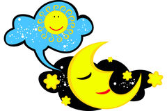 Vector Bild des Mondes, der an die Sonne denkt Stockfoto