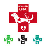 Vector Bild des Veterinärsymbols mit Hundekatze und -vogel Stockfotografie