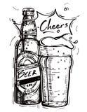 Vector Bild einer Bierflasche und des Bechers Bieres Stockfotos