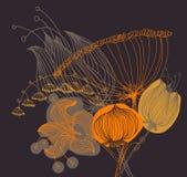 Vector Bild einer Blume in der Weinleseart Stockfotografie
