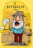 Vector Bild eines glücklichen Mannes mit einem trinkenden Bier des Hutes Stockfotos