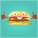Vector Bild eines Hamburgers in der Karikaturart Stockfotos