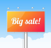 Vector Billboard on blue sky. Big Sale concept Royalty Free Stock Photo
