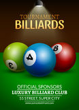 Vector Billiard challenge poster. 3d realistic balls on billiard table with lamp. Flyer design cover championship.  Royalty Free Stock Photography