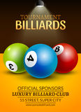 Vector Billiard challenge poster. 3d realistic balls on billiard table with lamp. Flyer design cover championship.  Royalty Free Stock Image
