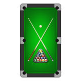 Vector billiards balls, triangle and two cues on a pool table Royalty Free Stock Photography