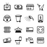 Vector bills icons. Set of vector bills icons for utilities such as water electricity sanitation heating gas rubbish disposal and television royalty free illustration