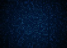 Vector binary code dark blue background. Big data and programming hacking, deep decryption and encryption, computer streaming Royalty Free Stock Photography