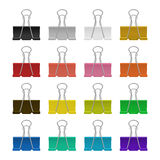 Vector binder clips. Set of multicolor binder clips, isolated on a white background. Vector EPS10 illustration Royalty Free Stock Photos