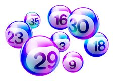 Vector Bingo Lottery Number Balls. Colorful Purple Holographic 3D Bingo Lottery Number Balls Isolated on White Background Stock Photography