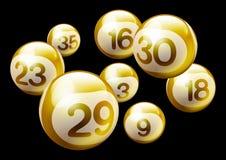 Vector Bingo Lottery Number Balls. Golden 3D Bingo Lottery Number Balls Isolated on Black Background Stock Image