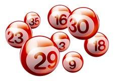 Vector Bingo Lottery Number Balls. Red 3D Bingo Lottery Number Balls Isolated on White Background Royalty Free Stock Image