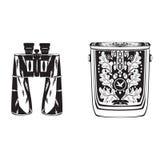Vector binocular preto e branco com o saco isolado, projeto liso do estilo Fotos de Stock Royalty Free