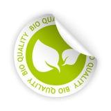 Vector bio quality bent sticker. Vector green bent sticker with symbol of bio quality Royalty Free Stock Photos