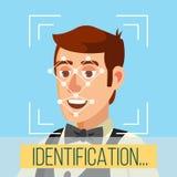 Vector biométrico de la identificación de la cara Rostro humano con los polígonos y los puntos Ejemplo de la exploración de la se stock de ilustración