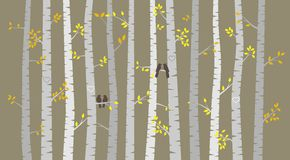 Vector Birch or Aspen Trees with Autumn Leaves and Love Birds stock illustration