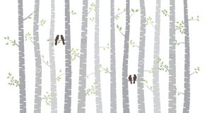 Vector Birch or Aspen Trees with Autumn Leaves and Love Birds Stock Photography