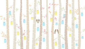 Vector Birch or Aspen Trees with Hanging Mason Jars and Love Birds Stock Images