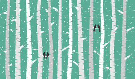 Vector Birch or Aspen Trees with Snow and Love Birds. Vector Birch or Aspen Trees with Snow Falling and Love Birds Royalty Free Stock Photo
