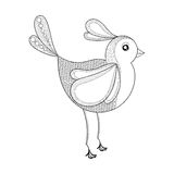 Vector Bird. Coloring page with zentangled bird. Hand drawn patt Royalty Free Stock Images