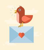 Vector bird delivering love letter. Concept illustration Royalty Free Stock Photos