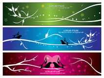 Vector bird & flora banners Royalty Free Stock Image