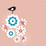 Vector bird and flower Stock Photo
