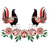 Vector bird folklore Gorodets 2. Vector ornament Russian folklore - Gorodets, ornamental birds, flowers and leaves Royalty Free Stock Photography