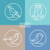 Vector bird icons in outline style. Sparrow, owl and pigeon - abstract icons and emblems vector illustration