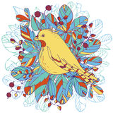 Vector bird and leaves Royalty Free Stock Image