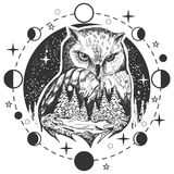 Vector owl tattoo or t-shirt print design. Vector bird tattoo or t-shirt print design. Owl head combined with nature in round frame with moon phases