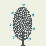 Vector bird and tree Royalty Free Stock Photos