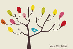 Vector bird and tree Royalty Free Stock Image